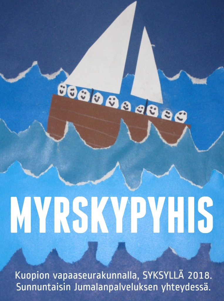 Lapsia veneen kyydissä myrskyisässä säässä